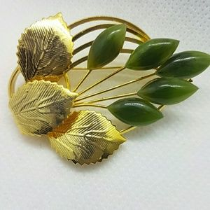 Vintage brooch leaves and flowers